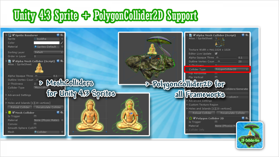 Unity 4.3 Sprites and PolygonCollider2D